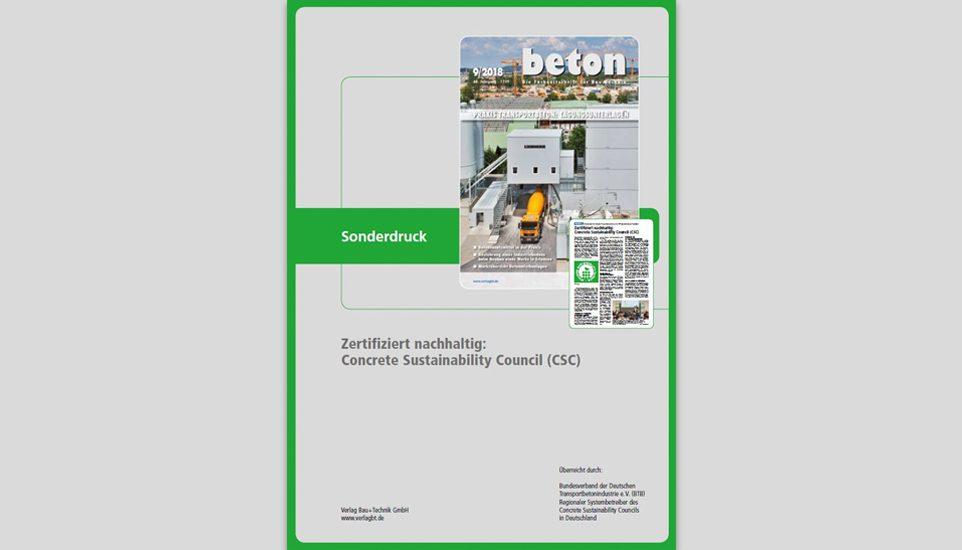 "CSC Sonderdruck der Zeitrschift ""beton"""